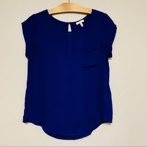 Joie Blue Silk Cap Sleeve Top Size Small